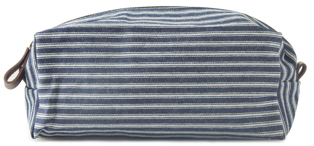 Striped Canvas Dopp Kit from the side | Style Standard