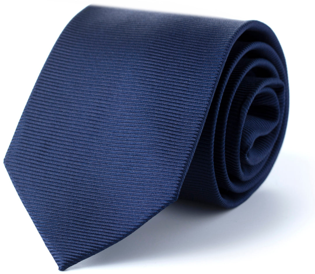 Navy Solid Tie rolled up facing camera | Style Standard
