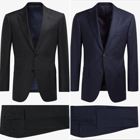 Charcoal Grey Suit and Navy Blue Suit jackets on top with pants folded below