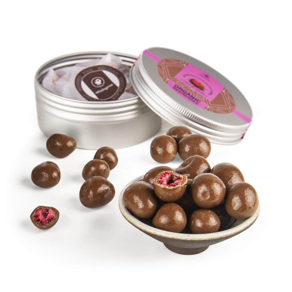 Chocolate Covered Dried Raspberries - A Kissing Tree