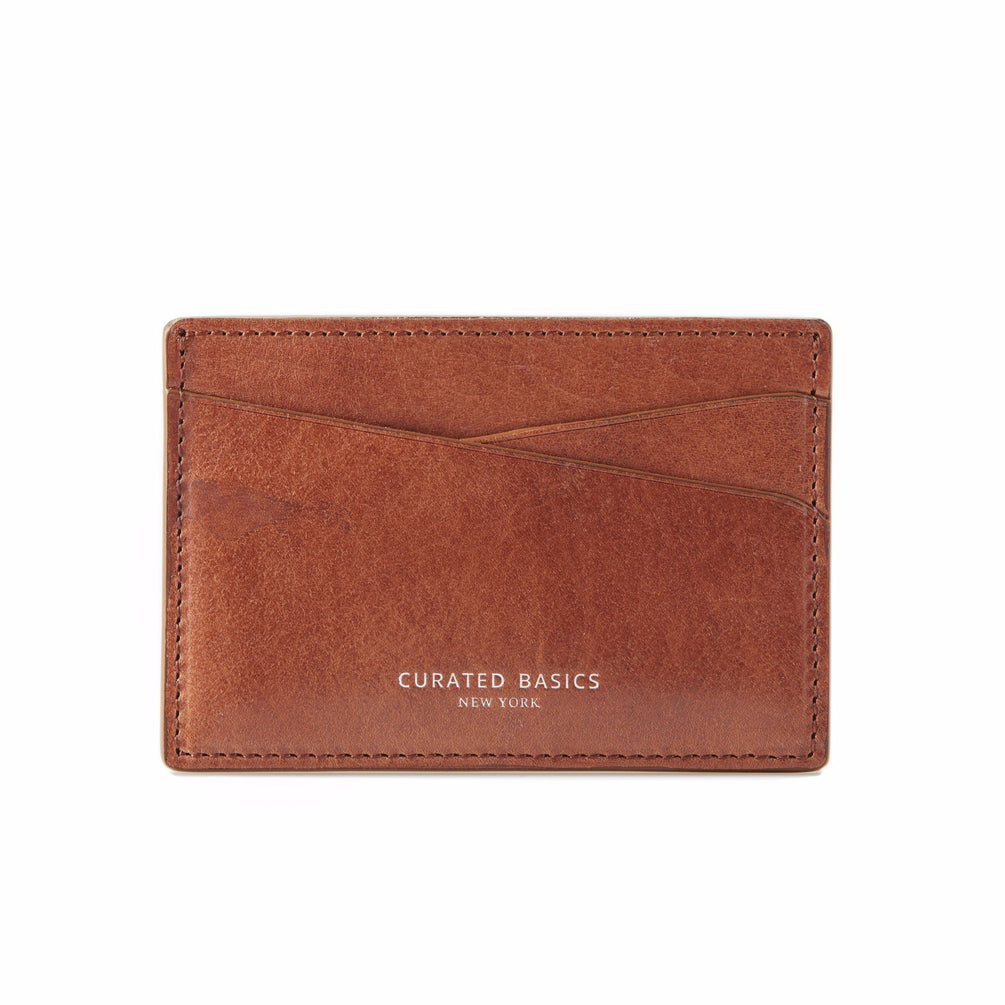 Front Image of the Cognac Brown Leather Cardholder   Style Standard