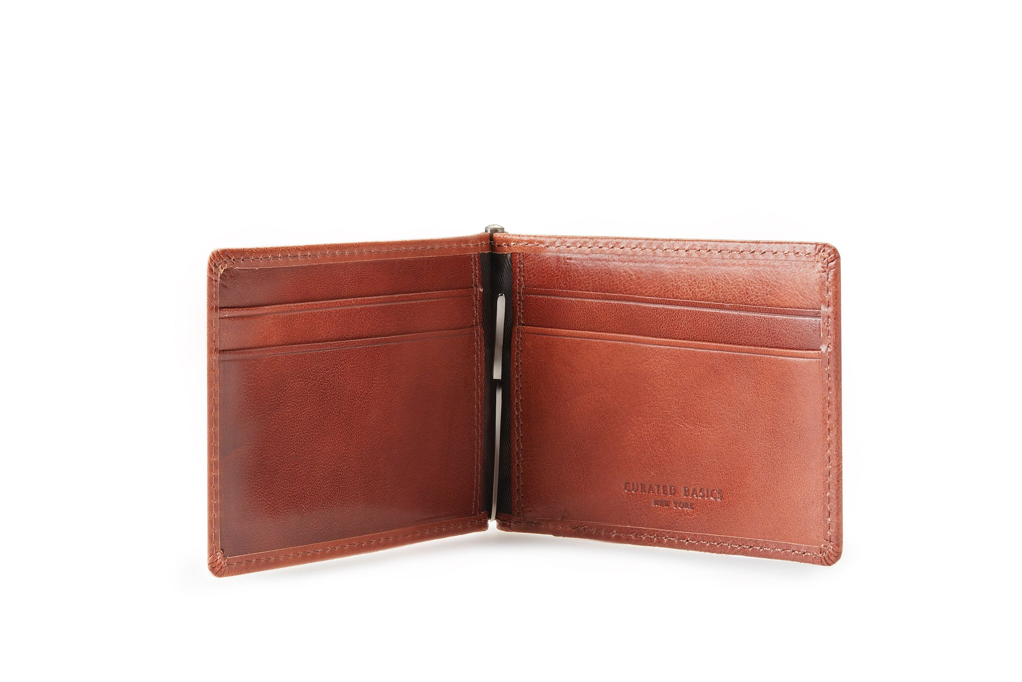 The Leather Money Clip Wallet, opened and showing the inside