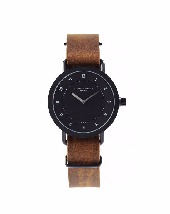 Dark Brown Leather Nato Watch Strap