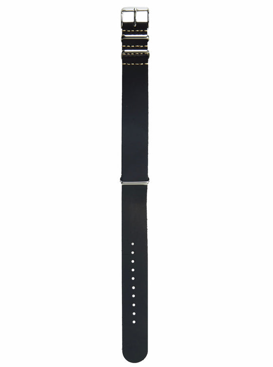 Black Leather Nato Watch Strap