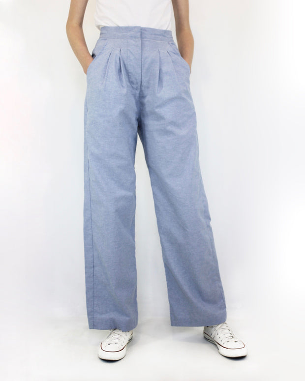 Hight Waisted Trousers Chambray