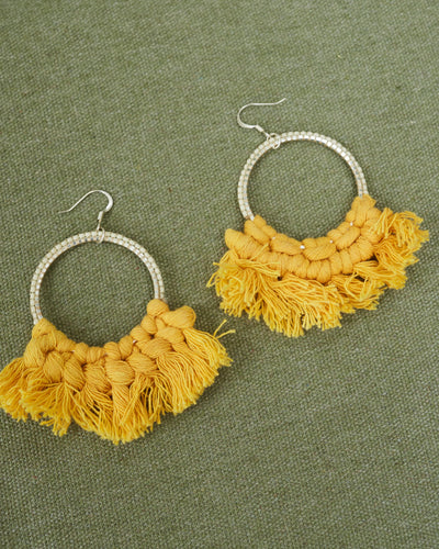 Yellow Tassel Beaded Hoops