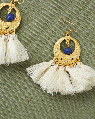 Matt Gold Cream Tassel Earrings