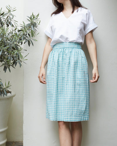 Gingham Skirt Light Blue