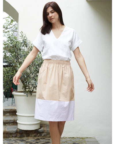 Contrast Panel Skirt Lilac Beige