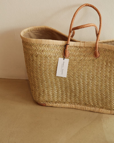 Handwoven Grass Basket with Leather Handles