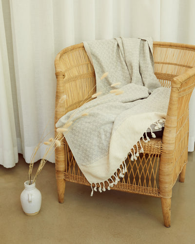 Handwoven Chunky Throw / Towel Light Grey