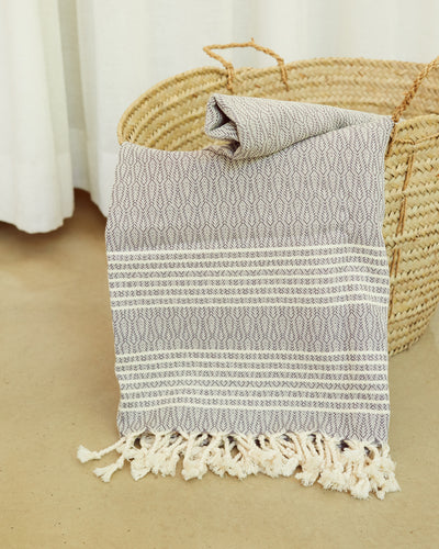 Textured Cotton Woven Throw / Towel Grey