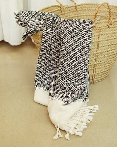 Handwoven Chunky Throw / Towel Black