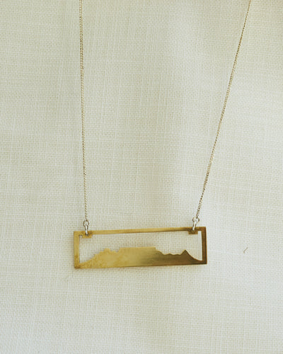 Table Mountain Rectangle Pendant Necklace