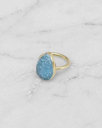 Mirage Raw Stone Ring Teardrop Turquoise