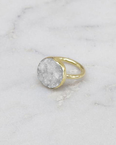 Mirage Raw Stone Ring Round White