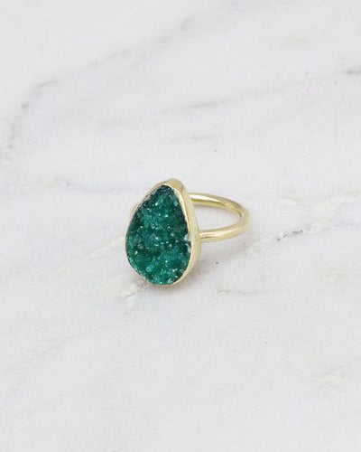 Mirage Raw Stone Ring Teardrop Green