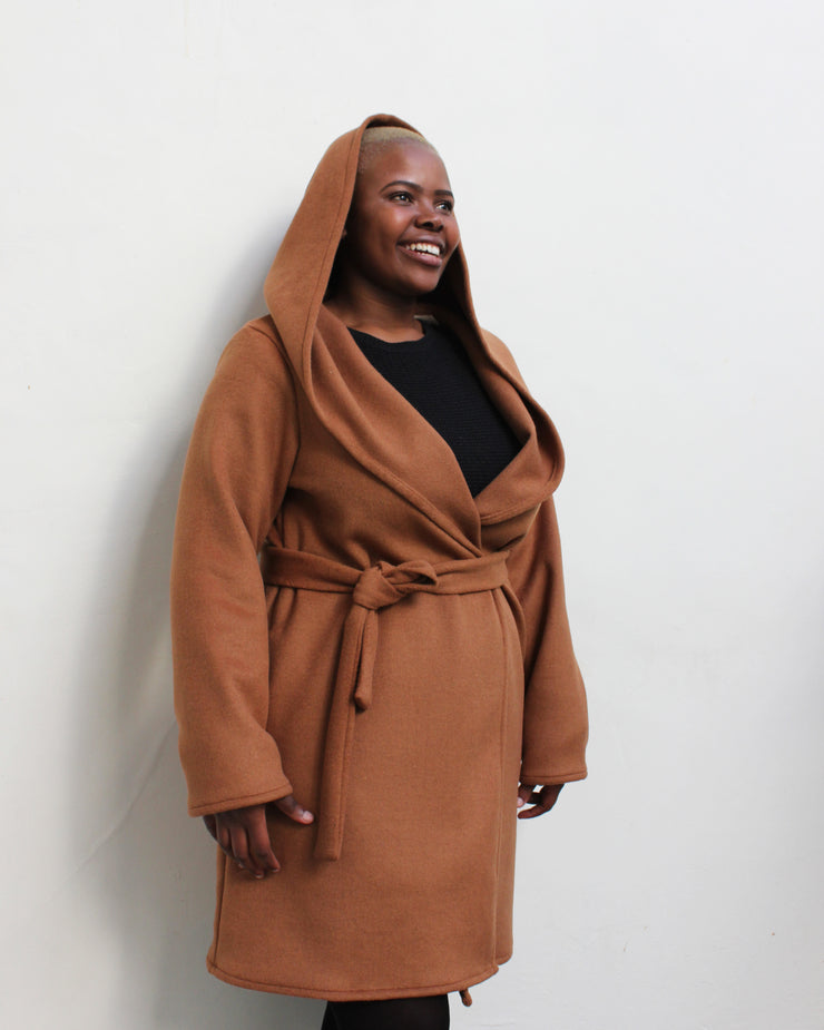 Hood Shawl Coat Tan | Coppélia