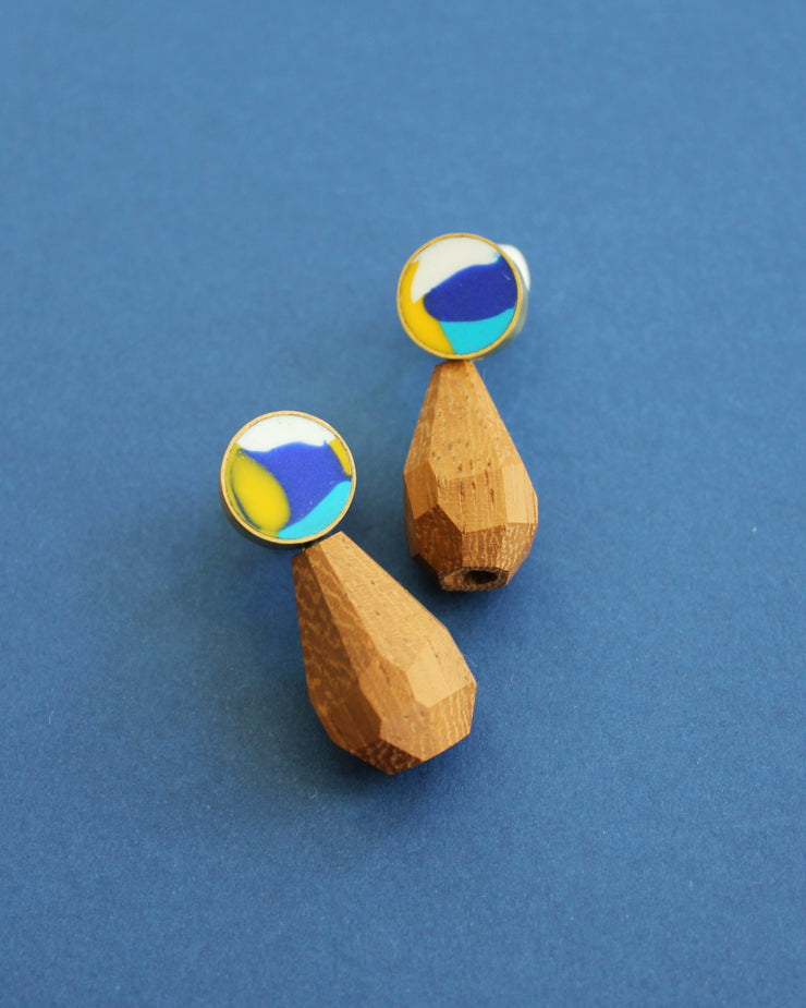 Teardrop Facet Studs Blue Multi