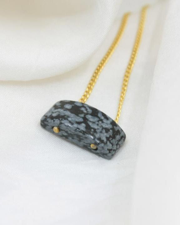 Gemstone Necklace Snowflake Obsidion
