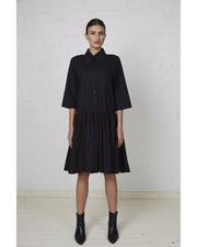 Gathered Shirt Dress Black