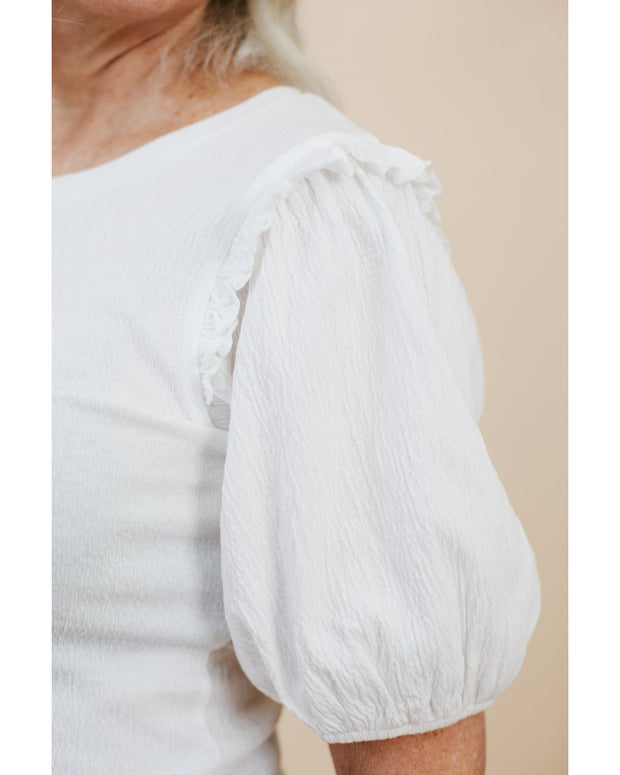 Puff Sleeve Tee with Frill Detail Milk