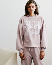 Statement Sweat Top Dusty Pink