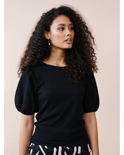 Puff Sleeve Tee with Frill Detail Black
