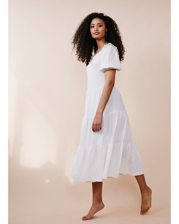 Knit Tired Dress with Puff Frill Sleeve Milk