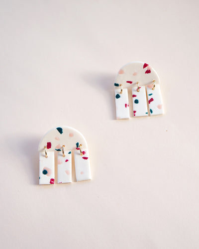 Tripto Earrings Terrazzo White