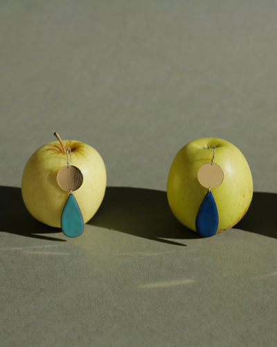 Brass and Circle Earrings with Enamel Drop