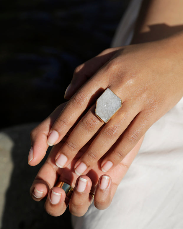 Mirage Raw Stone Ring White