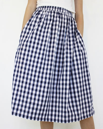 Gingham Skirt Navy
