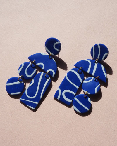 Fortune Earrings Ultramarine Scribble