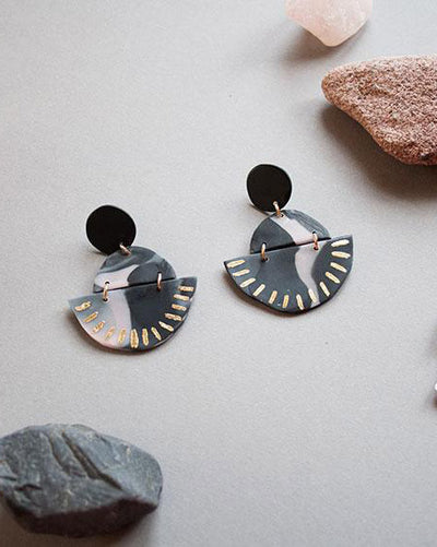 Circle Earrings Marble Black Gold Dashes
