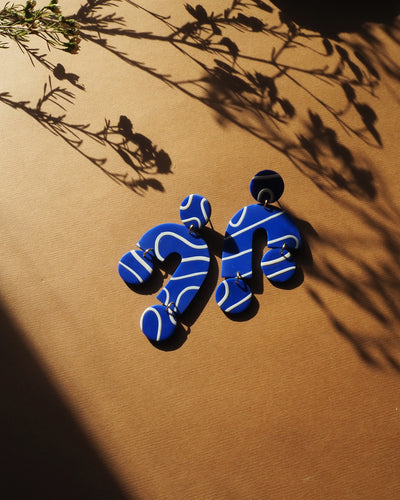 Scale Earrings Blue Scribble