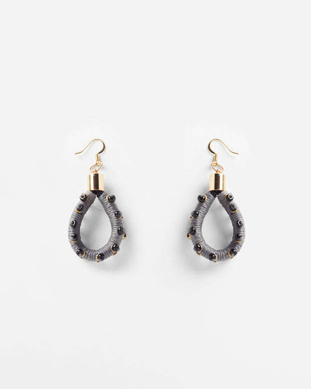 Scarab Earrings Grey