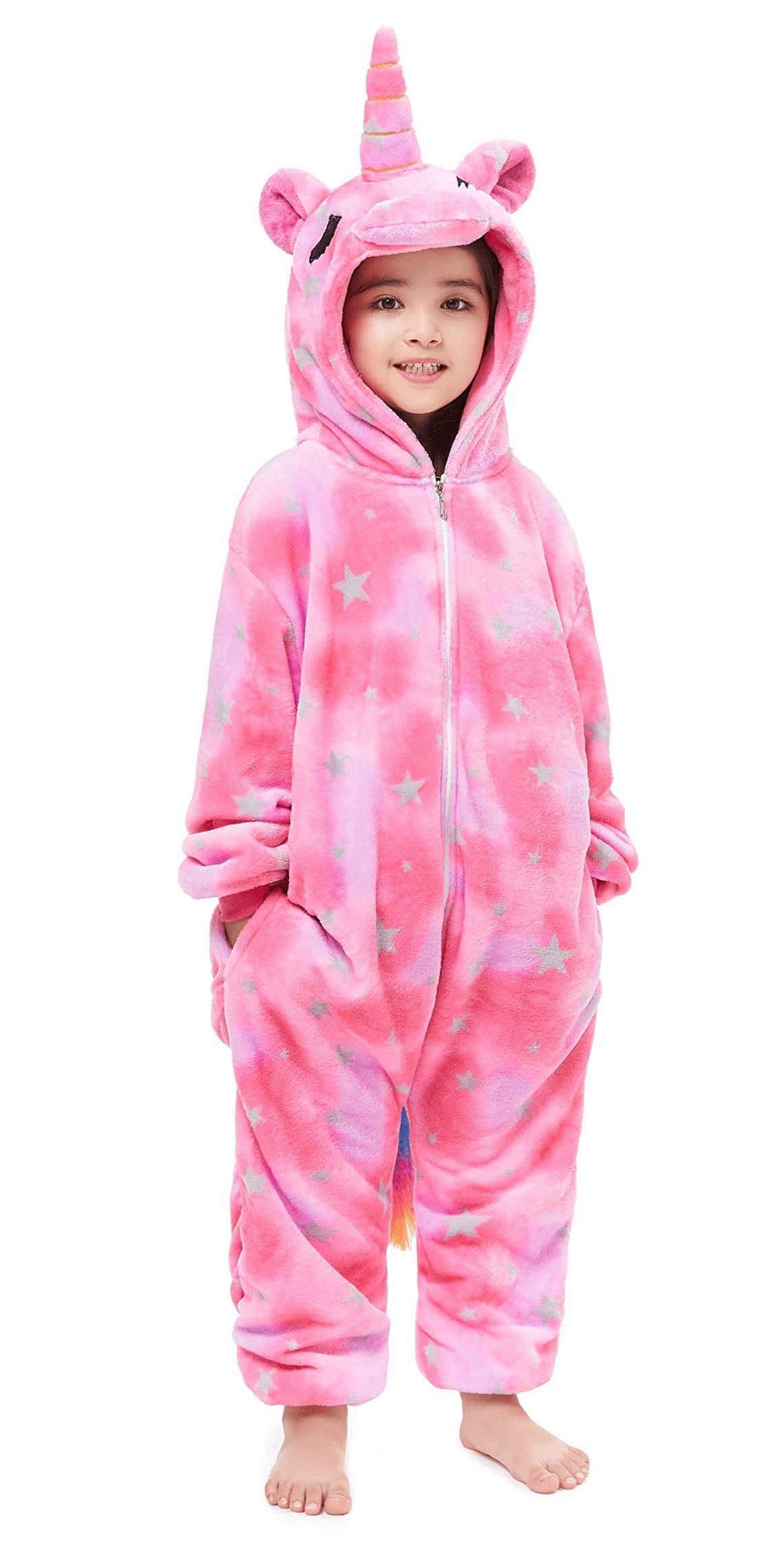 Pink Star Unicorn Onesie - Flannel Zipper-Kigurumi-Belife