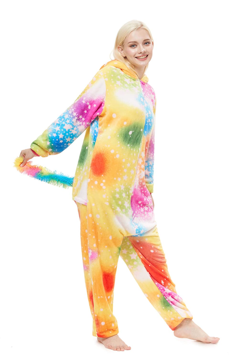 Colored Galaxy Unicorn Onesie - Flannel Zipper-Kigurumi-Belife