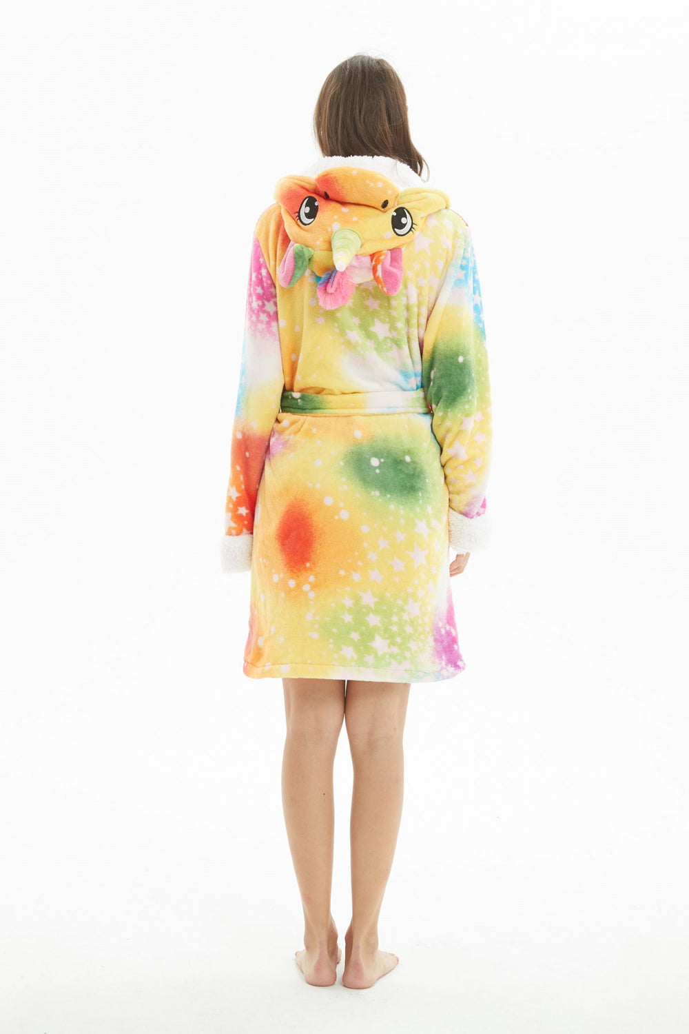 Colored Galaxy Unicorn Hooded Robe - Flannel-Bathrobe-Belife