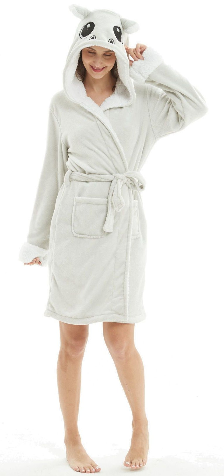 Hippo Hooded Robe - Flannel-Bathrobe-Belife