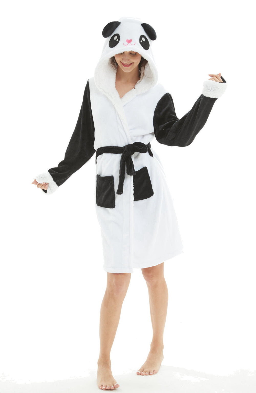 Panda Hooded Robe - Flannel-Bathrobe-Belife