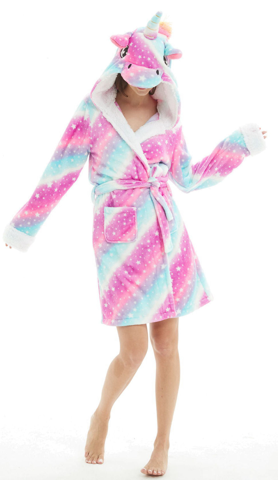 Galaxy Unicorn Hooded Robe - Flannel-Bathrobe-Belife
