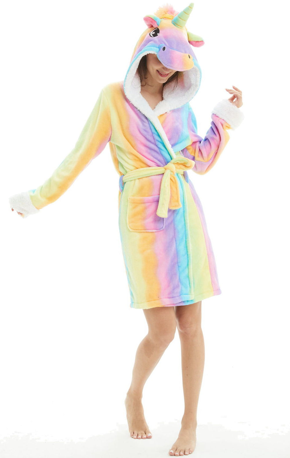 Rainbow Unicorn Hooded Robe - Flannel-Bathrobe-Belife