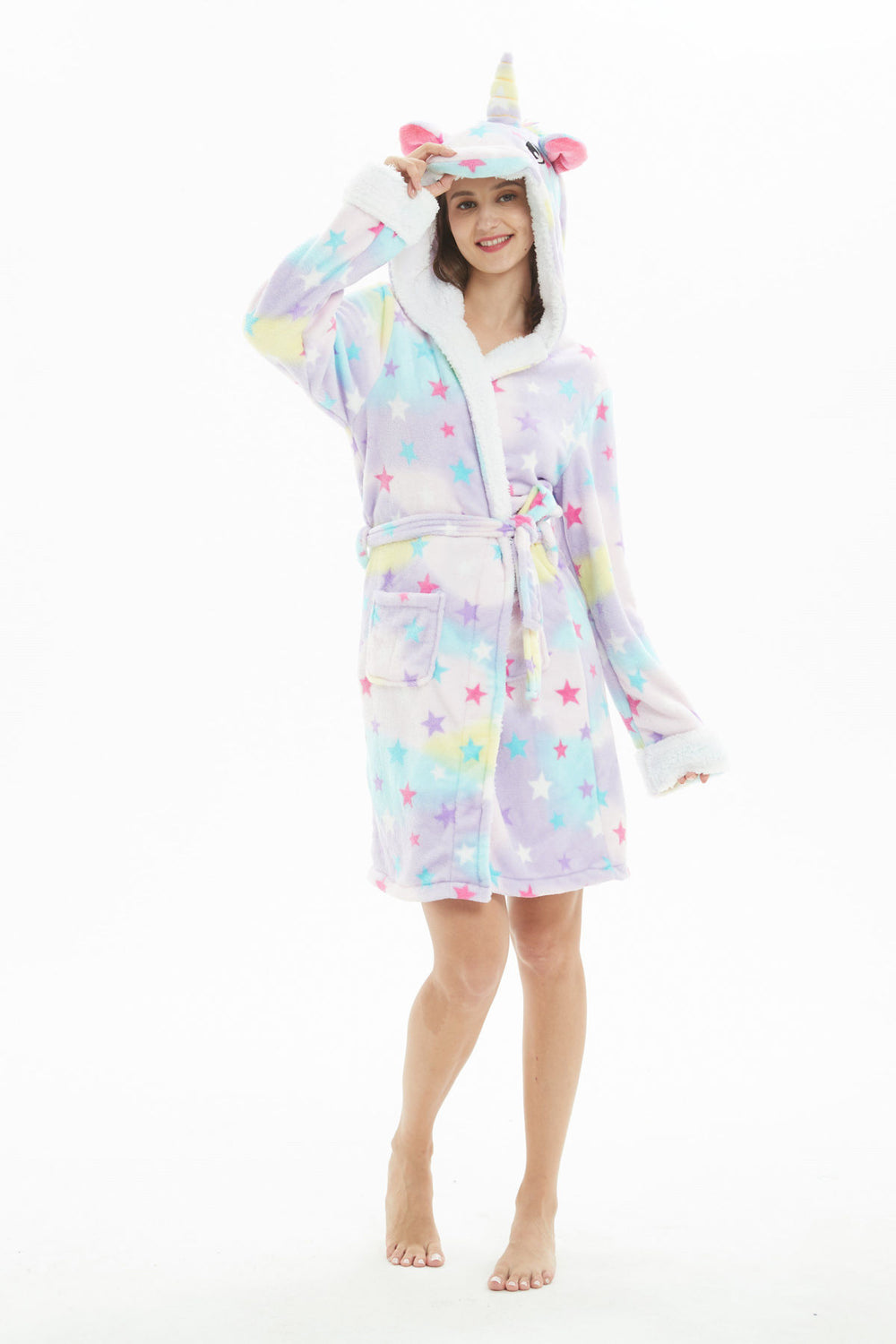 Dreamin' Star Unicorn Hooded Robe - Flannel-Bathrobe-Belife