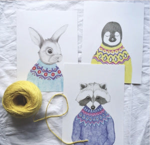 Animal in Knit - Set of three small prints