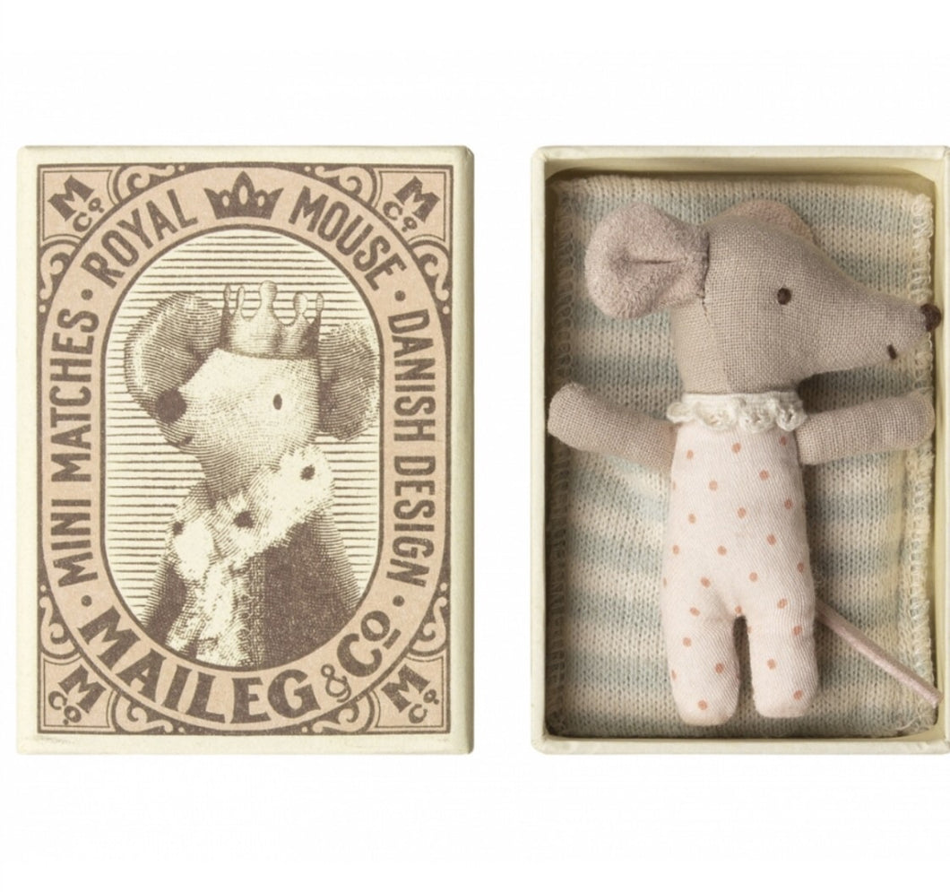 Maileg Baby Mouse in match box