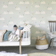 Hibou Home Swans Wallpaper in Mint or Rose