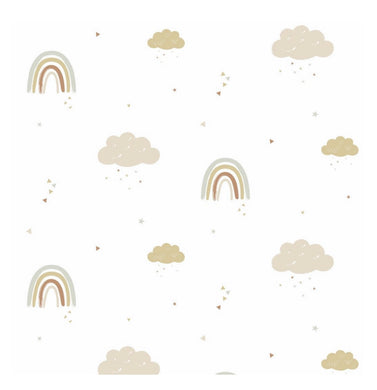 Hibou Home Rainbows Wallpaper Mustard & Rose
