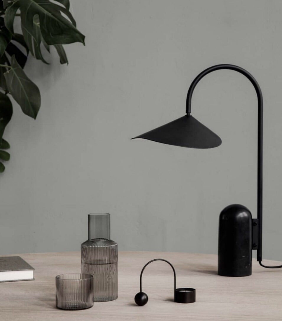 Ferm Living Black  Marble Arum Lamp